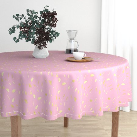 Round Tablecloth Gold And Pink Modern Nursery Decor Cotton Sateen - Pink And Gold Tablecloth