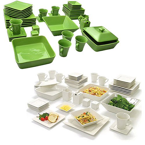10 Strawberry Street Nova Square Banquet 90-Piece Mix and Match Dinnerware Set