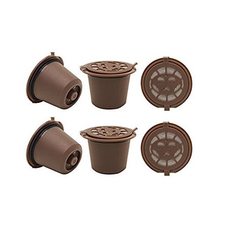 Nespresso Reusable Empty Refillable Capsule Pods with Scoop - Brown (6 Pods) ()