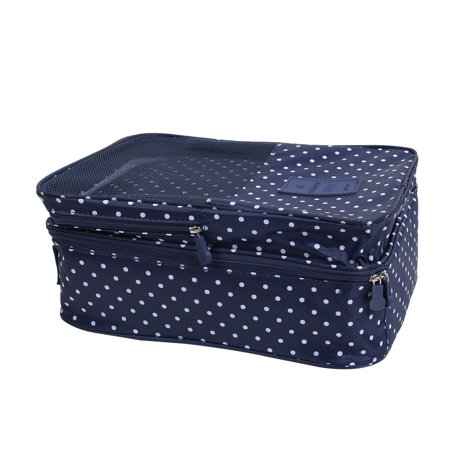 Outdoor Travel Nylon Dots Print Zipper Closure Shoes Storage Bag Pouch Navy Blue