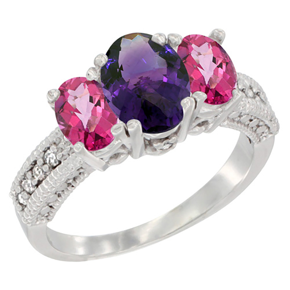 10K White Gold Diamond Natural Amethyst Ring Oval 3-stone with Pink Topaz, sizes 5 10 by WorldJewels