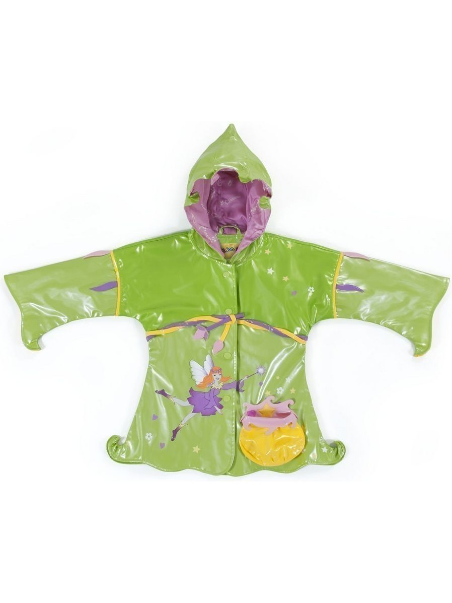 Kidorable Baby Girls Green Fairy Pouch Pocket Hooded Rain Coat 12-18M