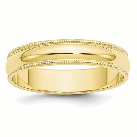 10k Yellow Gold 5mm Milgrain Half Round Band Ring