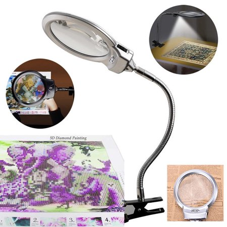 Magnifying Lamp - 2 in 1 Clamp Table Desk Lamp Energy Saving LED Ultra Bright Daylight Light, Great for Reading, Hobbies, Crafts, Workbench-