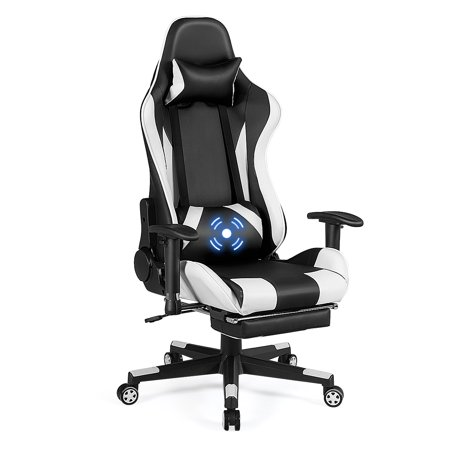 Costway Massage Gaming Chair Recliner Gamer Racing Chair w/ Lumbar Support & Footrest