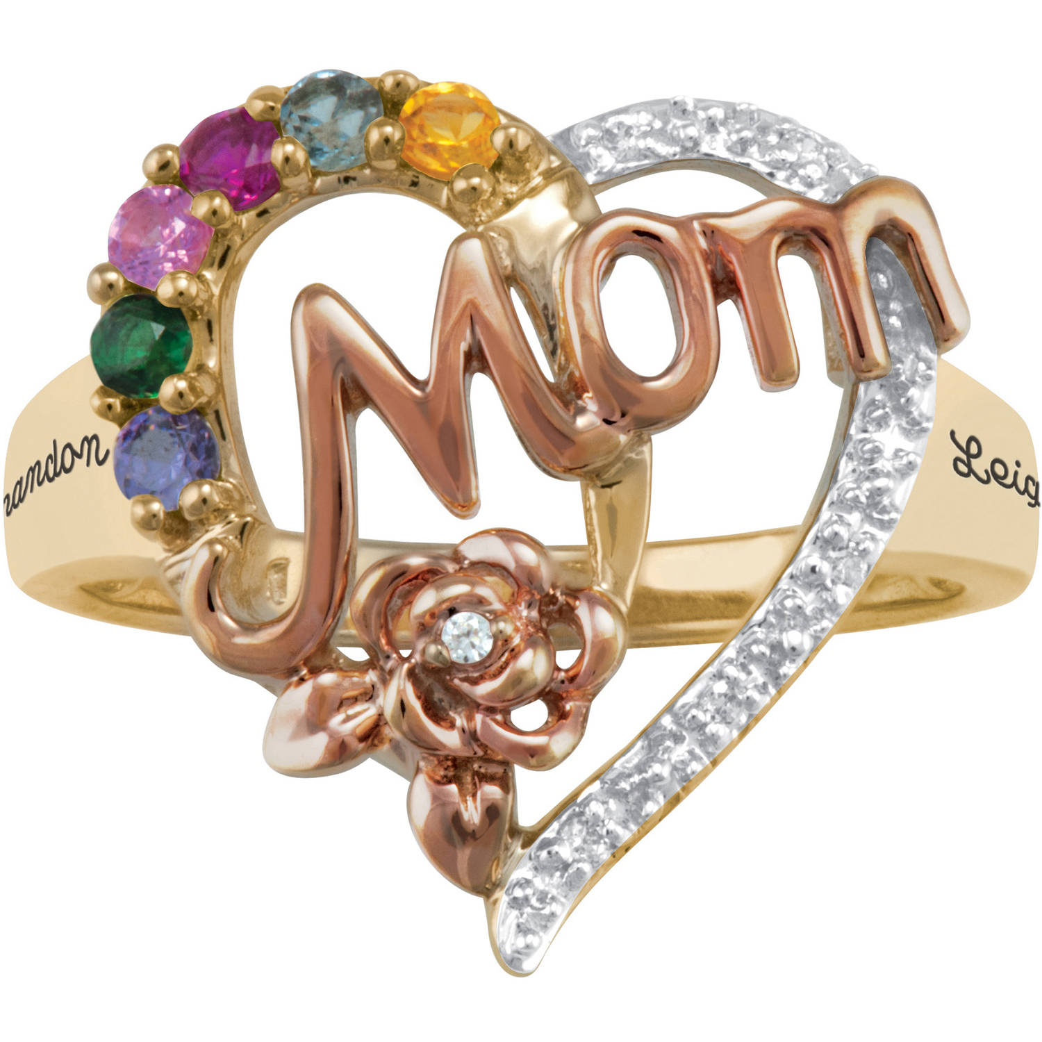 Personalized Keepsake Mom's Blossom Ring
