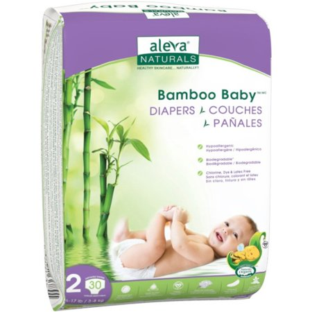 Image of Aleva Naturals Bamboo Baby ® Diapers, Size 2, 30 Diapers