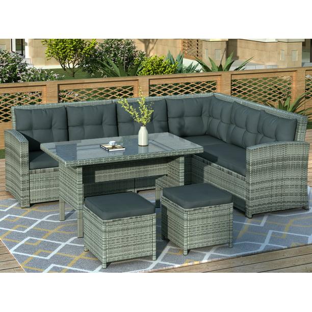 Rattan Garden Furniture Set 8 Seater, Grey Rattan Garden Furniture Sets