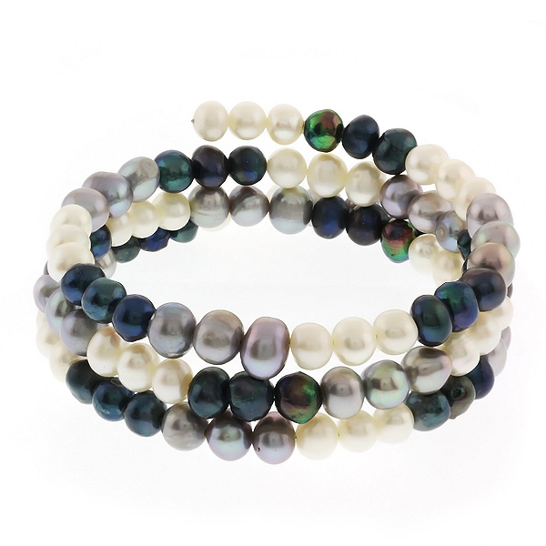Flexible Multi-Color Genuine Cultured Freshwater Pearl 3 Row Wrap Bracelet