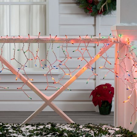 Holiday Time Multicolor Icicle Christmas Lights Set, 18', 300 Count, White Wire