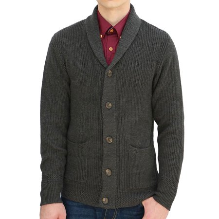 (Men's Pockets Front Shawl Collar Single Breasted Cardigan)