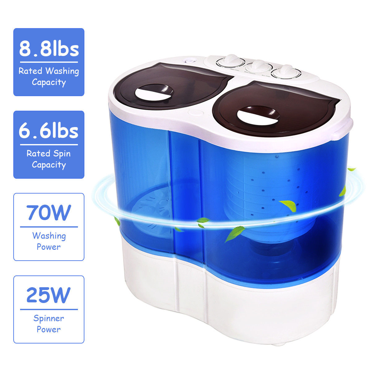 Charmant Costway Portable Mini Washing Machine Compact Twin Tub 15.4lbs Washer Spin  Spinner
