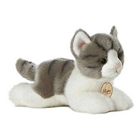 Grey Tabby Cat 8 Inch Miyoni Stuffed Animal by Aurora Plush (10813) - Cheap Cat Stuffed Animals