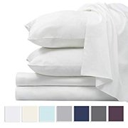 1000 Thread Count Sheet Set, 100% Long Staple Pure Cotton White King Sheets, Luxurious Smooth Sateen Weave Breathable Sheets fit Upto 15 inch Deep Pockets (White King 100% Cotton Sheet Set)