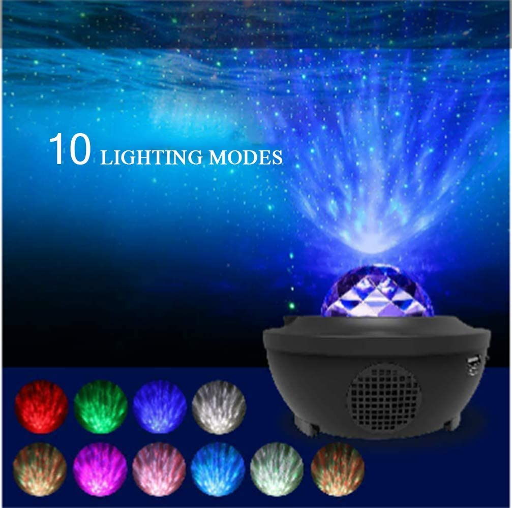 Galaxy Nebula Projector lights White 2020 Star Ocean Wave Starry Projection Night Light with Bluetooth Speaker,TF Card Play-32 Modes Night Light for Bedroom//Wedding//Party//Holiday//Gift