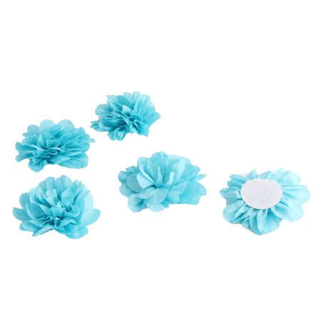 Home Birthday Party Decor Fabric Artificial Handcraft DIY Flower Blue 5 Pcs - image 3 of 3
