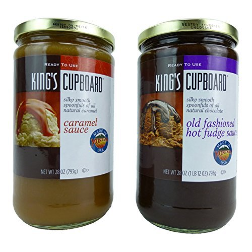 King's Cupboard All Natural Caramel and Old Fashioned Hot Fudge Sauce 28 Ounces Each