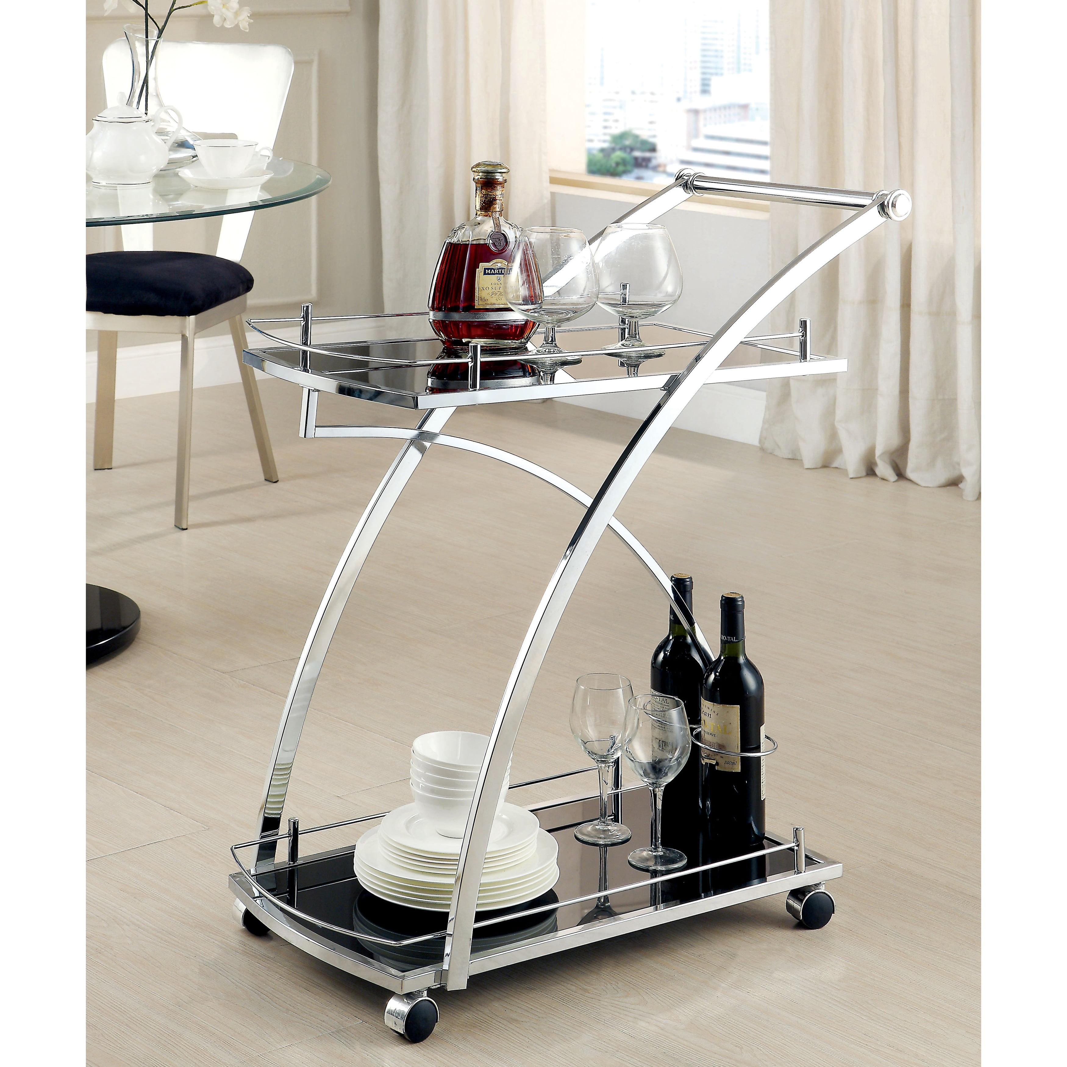 Furniture of America  Erwynn Contemporary Chrome 2-Shelf Serving Cart