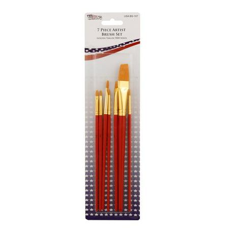 (US Art Supply Golden Taklon 7pc Nylon Hair Artist Paint Brush Set Round Shader)