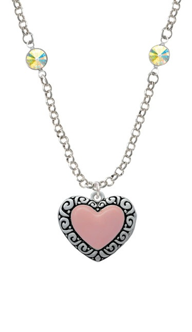 Large Pink Enamel Heart With Swirl Border Yellow Crystal Fiona