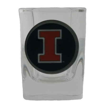 Illinois Fighting Illini 2oz Square Shot Glass - Team Color Pewter Logo