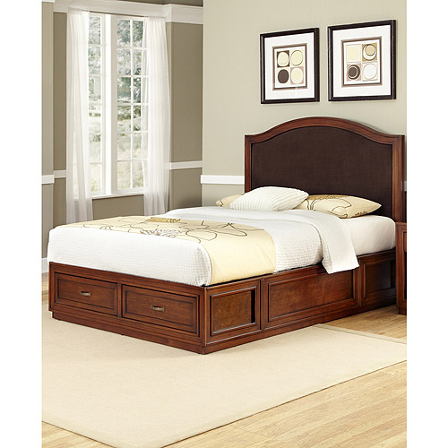 Home Styles Duet Platform King Bed with Camelback Brown Microfiber Inset, Rustic Cherry
