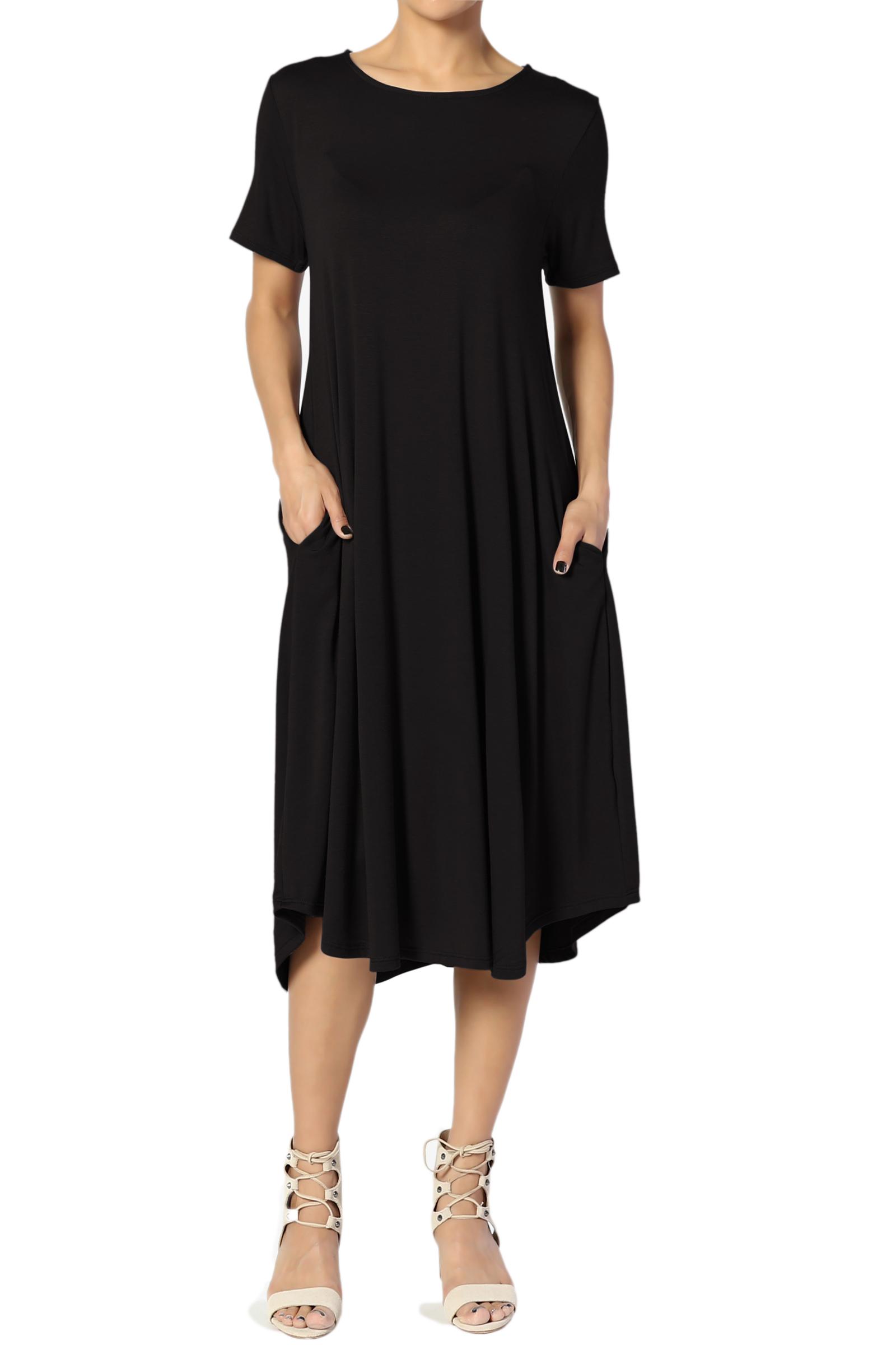 TheMogan Women's S~3X Short Sleeve Fit & Flare A-line Draped Jersey Midi Dress