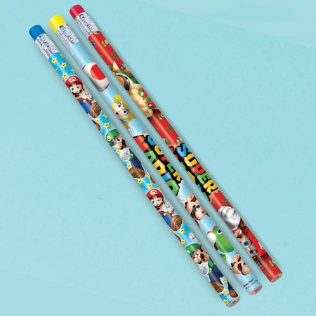 Super Mario Party Supplies Pencil Favors (12 Pack) - Party Favors (Mario Bros Party Favors)