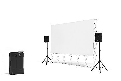 Genial Backyard Theater Systems  Complete Outdoor Movie Theater  Projector,  Speakers, 16u0027 Screen