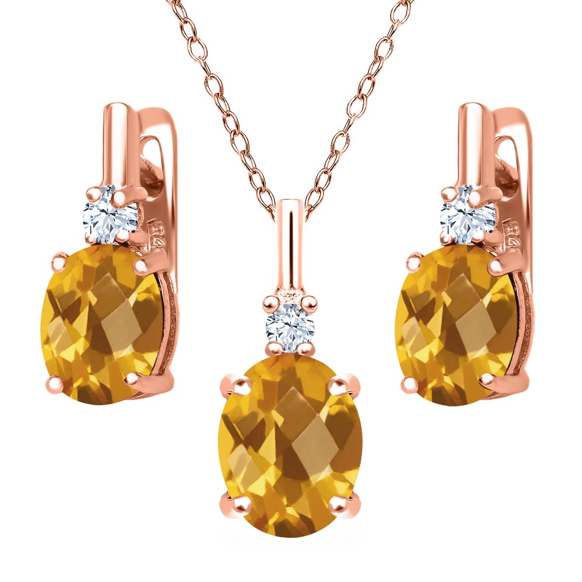 4.85 Ct Oval Checkerboard Yellow Citrine 18K Rose Gold Plated Silver Pendant Earrings Set by