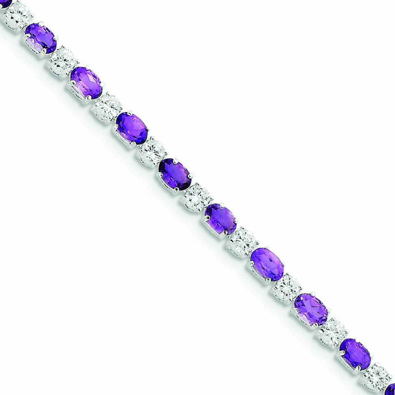 Sterling Silver Amethyst and Cubic Zirconia Bracelet 7 Inch Box Clasp by Kevin Jewelers