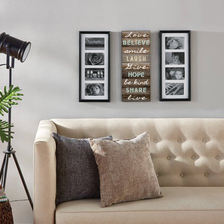 Mainstays 8-Opening Sentiment Picture Frames, Set of 3, Black ()