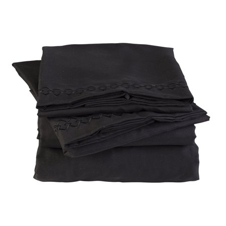 Florida Brands Elasticized   Wrinkle Free Microfiber King Bed Sheet Set In Black