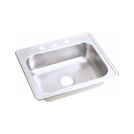 Elkay D125213 Dayton Stainless Steel Single Bowl Top Mount Sink with 3 Faucet Holes, Satin