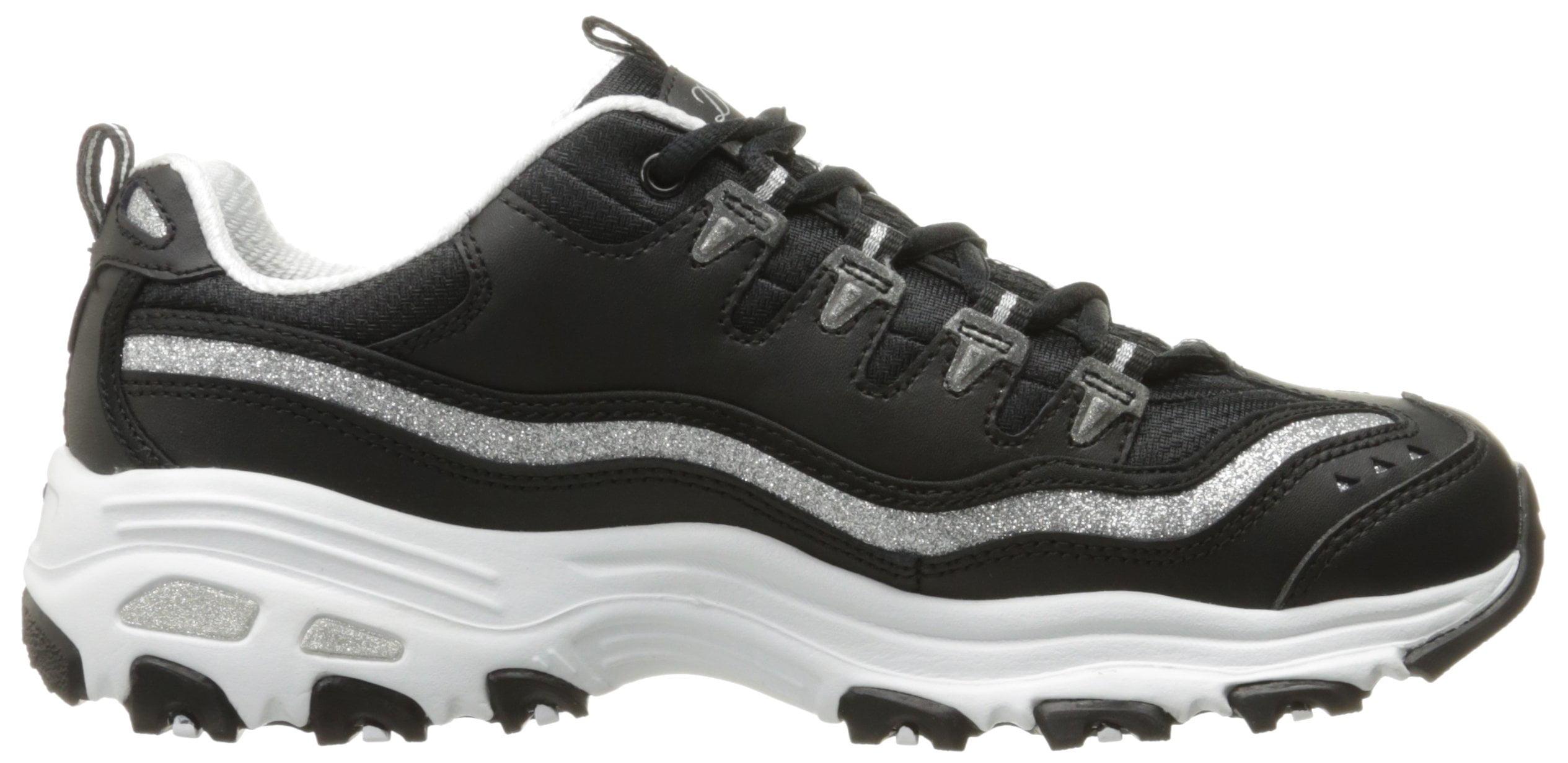 Skechers 11923-BKSL : Sport Women's D'Lites Memory Foam Lace-up Sneaker (8 B(M) US)