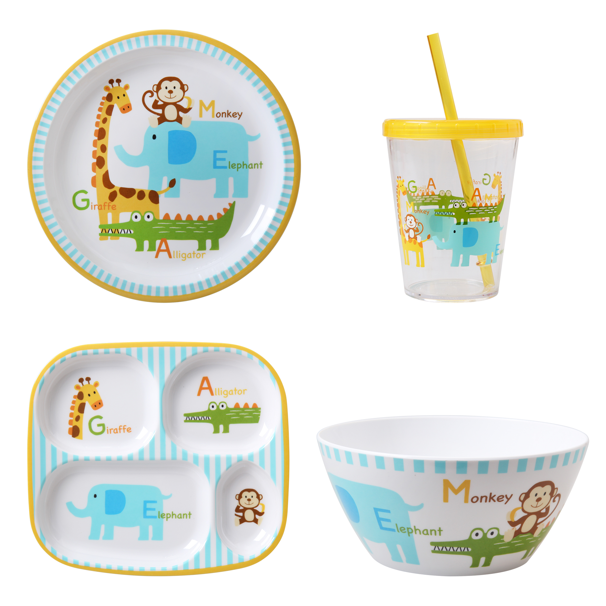 Mainstays Kids 4-Pack Tabletop Set: includes 1 Plate, 1 Divided Plate, 1 Bowl, 1 Tumbler