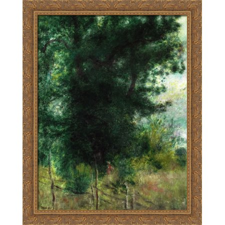 - A Fence in the Forest 28x34 Large Gold Ornate Wood Framed Canvas Art by Pierre Auguste Renoir