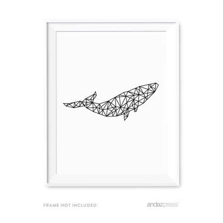 Black Whale - Breaching Whale Geometric Animal Origami Wall Art Black White Minimalist Print