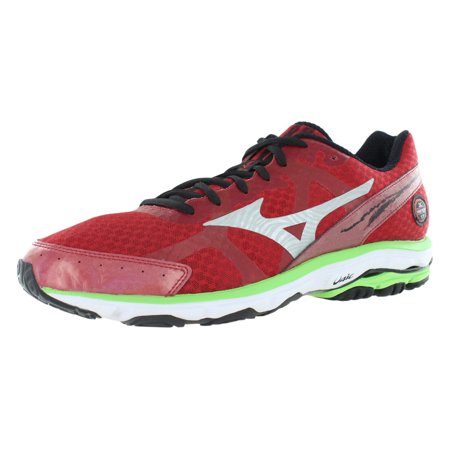 Mizuno Mens Wave Rider 17 Running Trainer Shoes, Cherry/Silver/Green, US 14