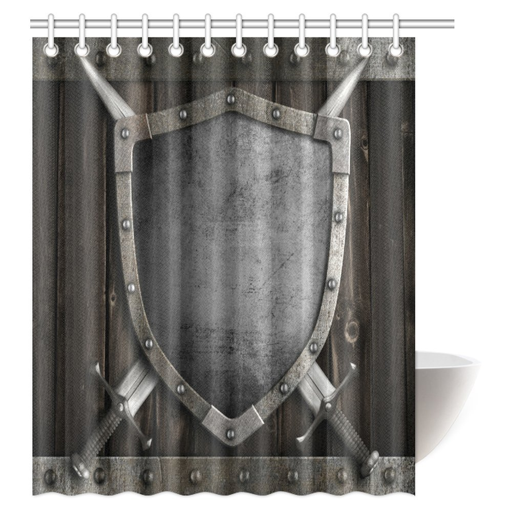 Mypop Medieval Decor Shower Curtain Medieval Shield And Crossed