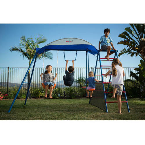 IRONKIDS Cooling Mist Inspiration 100XL Metal Swing Set with Ladder Climber and Protective Sunshade