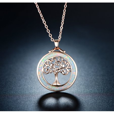 - 18K Rose Gold Plating & White Fire Opal Tree Of Life Pendant Necklace