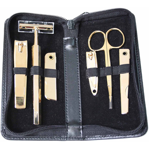 Royce Leather 6-Piece Gold Plated Manicure Grooming Set in Genuine Leather