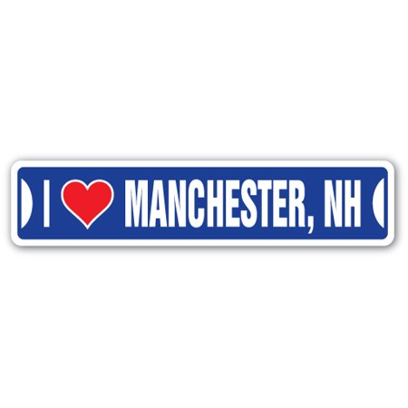 I LOVE MANCHESTER, NEW HAMPSHIRE Street Sign nh city state us wall road décor gift ()