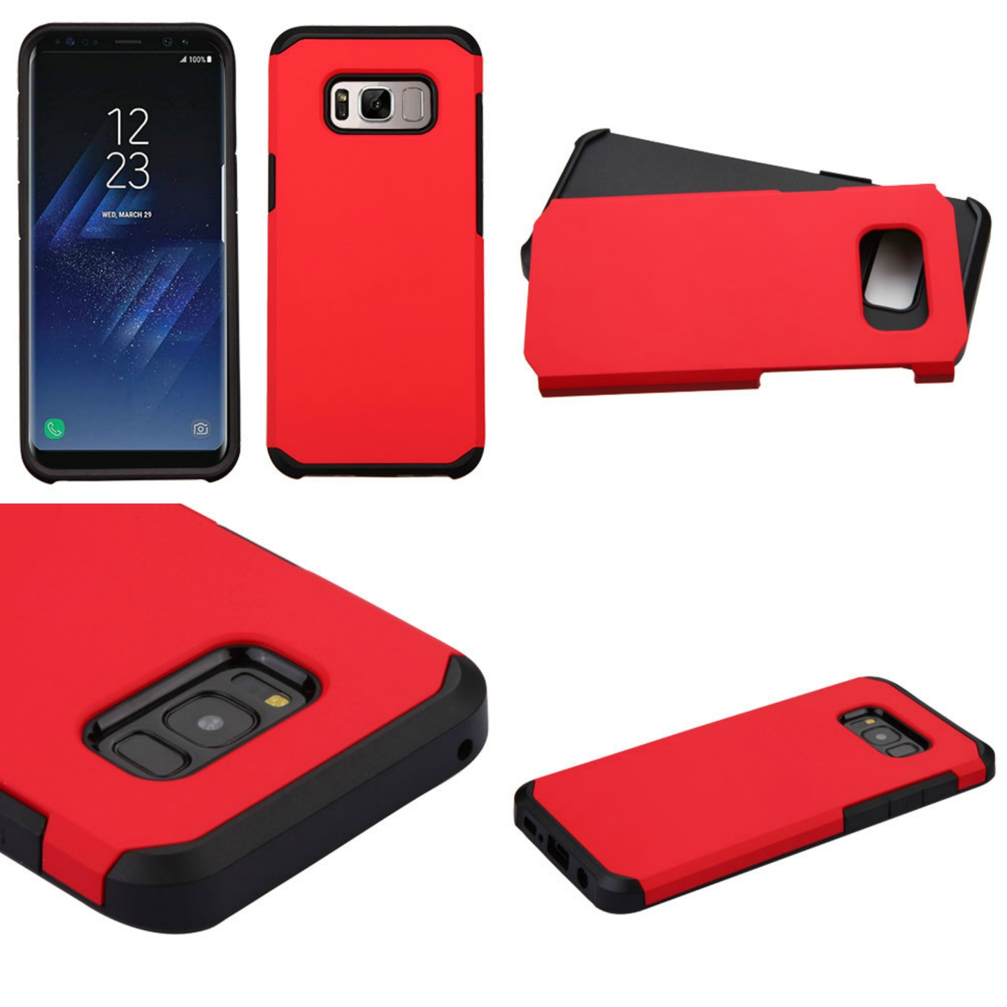 MUNDAZE Red Slim Double Layered Case For Samsung Galaxy S8 Phone