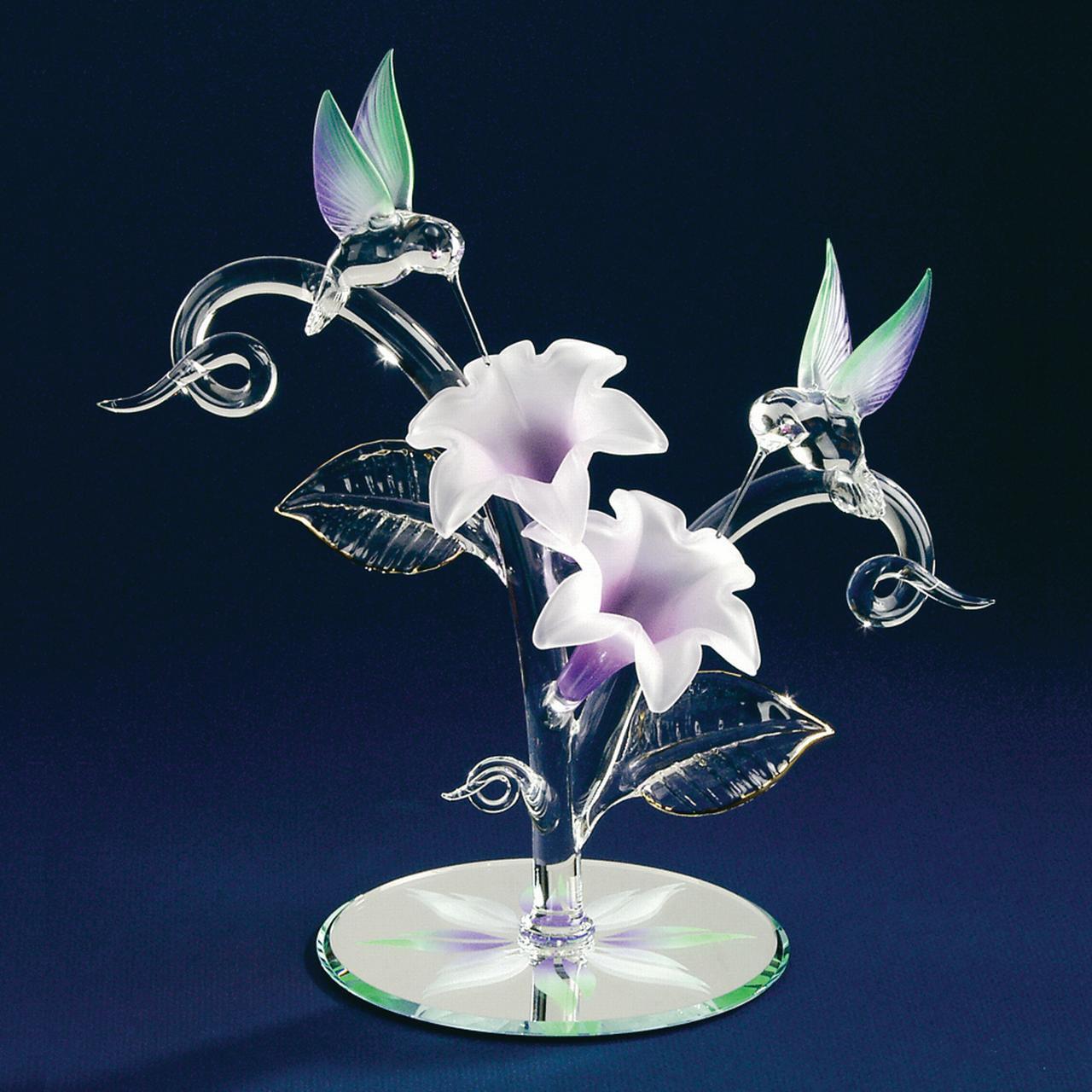 Hummingbirds Flowers Glass Figurine Floral Garden Nautical Glas Baron For Women