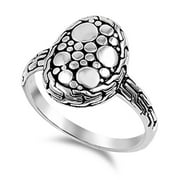 Oval Round Nugget Bali Halo Circle Ring New .925 Sterling Silver Band Size 5