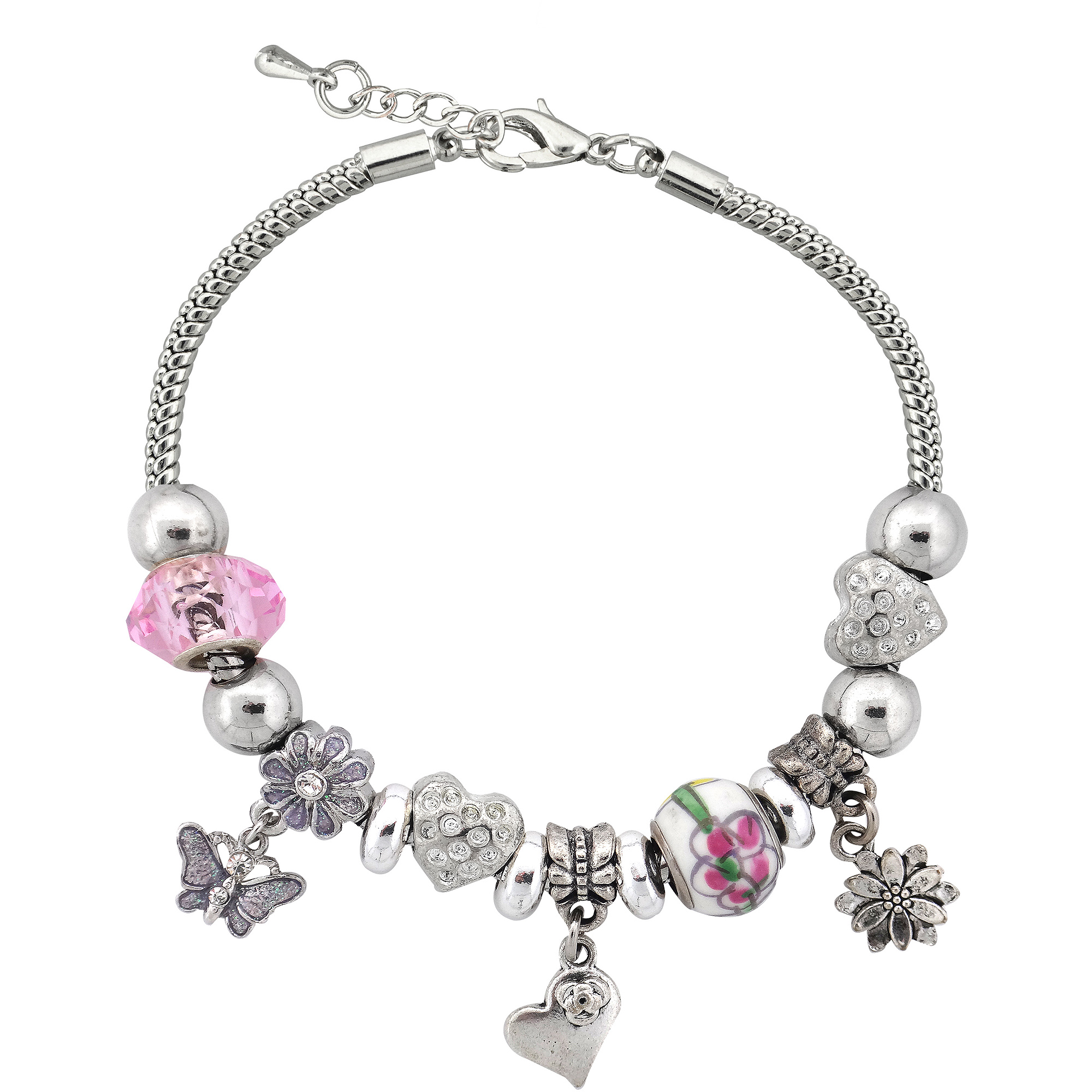 Silvertone Spring Flower Charm and Glass Beads Bracelet with Extender, 7.5""