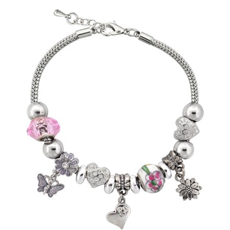 Silvertone Spring Flower Charm and Glass Beads Bracelet with Extender, 7.5