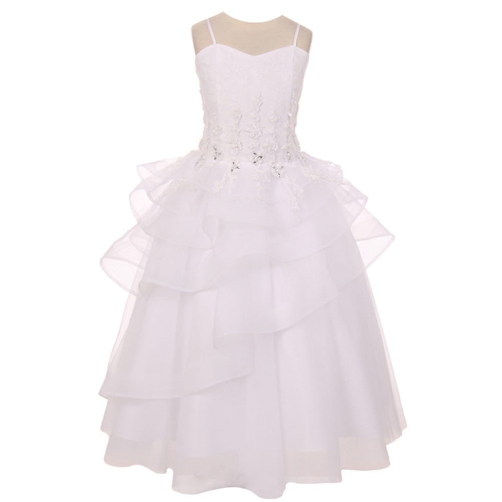 Chic Baby Big Girls White Lace Tiered Pageant Junior Brid...